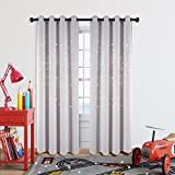 Romantic Starry Sky Draft Blocking Draperies 2 Panels Grommet Top Curtain with Die-cut Stars, Starry Night Twinkle Room Darking Curtains for Living Room/Kid's Room, 52 x 84 Inches, Greyish White