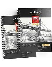 ARTEZA Blocs de dibujo artístico | Tamaño A4 | Pack de 2 | 100 hojas x 2 | Papel fino color crema de 100 gsm sin ácidos | Para prácticas de dibujo y bocetos con medios secos