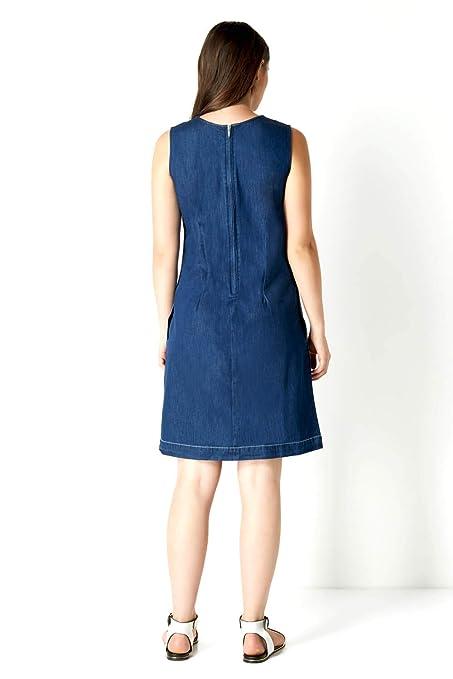 0d9c166431a82 Roman Originals Femme Robe en Jean Denim - sans Manches Col V Elegant Ete  Printemps Confortable Simple Robes: Amazon.fr: Vêtements et accessoires