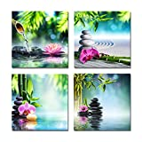 Usaboutall Ukallaite Dress Up Your Life 4 Pieces Spa Series Stone Flowers Bamboo Frameless Wall Art Paintings Home Decor - 40cm x 40cm