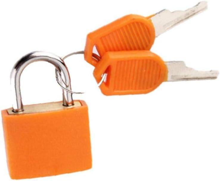 Voyage Bagages Verrouillage Mini Serrure En Plastique Laiton Enduit Padlock Avec Des Cl/és Pour Les Valises /à Dos Et Casiers Orange 1pc