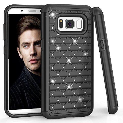 Samsung S8 Case, Galaxy S8 Case, TILL(TM) Studded Rhinestone Crystal Bling Shock Absorbing Hybrid Defender Rugged Slim Case Cover For Samsung Galaxy S8 S VIII 5.8 Inch 2017 (Graphic Rhinestone Case)
