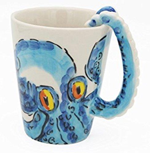 3D Handmade Creative Art Coffee Mug Ceramic Milk Cups Ocean Style With handle Painted (Octopus)