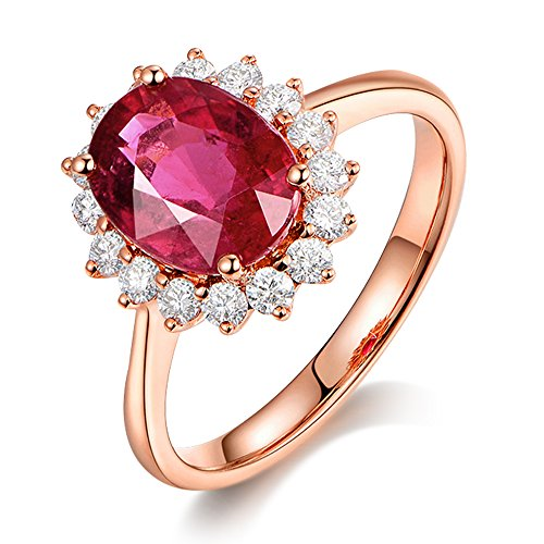 Kardy Gorgeous Fashion 14k Solid Rose Gold South Africa Diamond Natural Tourmaline Gemstone Wedding Engagement Valentine's Day Gift Ring by Kardy