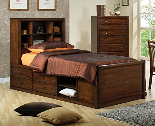400280T Hillary and Scottsdale Twin Chest Bed in Warm Walnut -