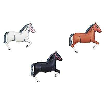 "DalvayDelights 3 Piece Horse Shaped 43"" White Black and Brown Foil Mylar Balloons Party Set: Toys & Games"
