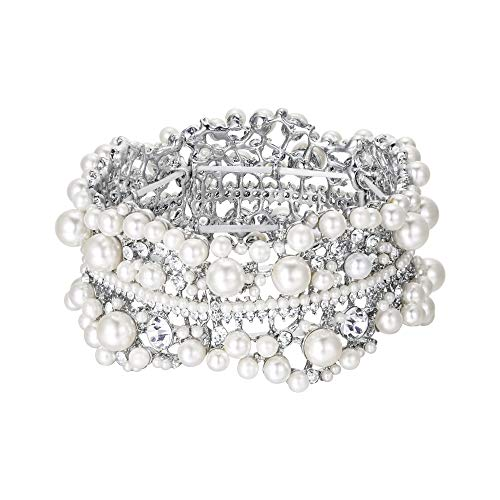 EVER FAITH Austrian Crystal Simulated Pearl Bridal Flower Stretch Bracelet Clear Silver-Tone (Style Heart Victorian Bracelet)