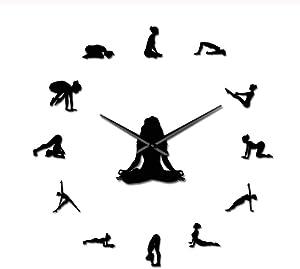 VJIEBF Yoga Girl Design DIY 3D Acrylic Wall Clock Special Clock Fashion Home Decor Self Adhesive Quartz Mirror Sticker Gift for Her