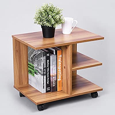 GreenForest Modern Bedside End Table Nightstand, Printer Stand with Storage Shelf and Lockable Wheel for Bedroom, Walnut. -  - nightstands, bedroom-furniture, bedroom - 51DWMsSDkAL. SS400  -