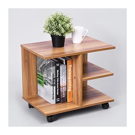 GreenForest Modern Bedside End Table Nightstand, Printer Stand with Storage Shelf and Lockable Wheel for Bedroom, Walnut. -  - nightstands, bedroom-furniture, bedroom - 51DWMsSDkAL. SS570  -