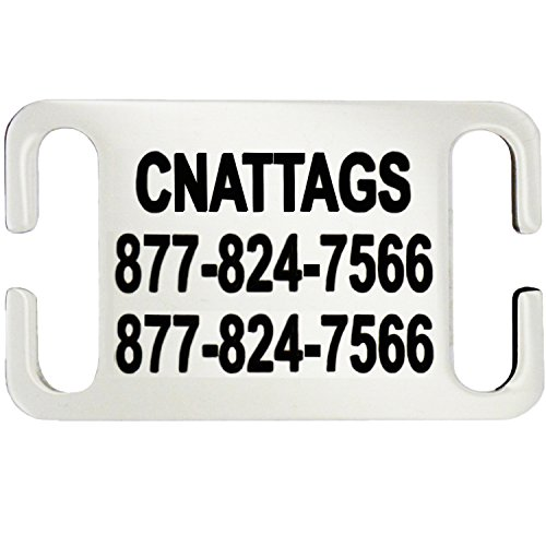 Stainless Steel Slide-On Pet ID Tags Dog Tags Personalized Engraving (Small)