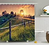 Room Decorations Shower Curtain Set by Ambesonne, Morning Sunbeams Over Countryside Farmhouse Colorful Sky Carpathian, Ukraine, Europe. , Bathroom Accessories, 69W X 70L Inches