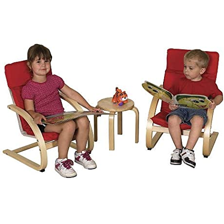 3 Piece Toddler Bentwood Chairs And Table Set Red Cushions