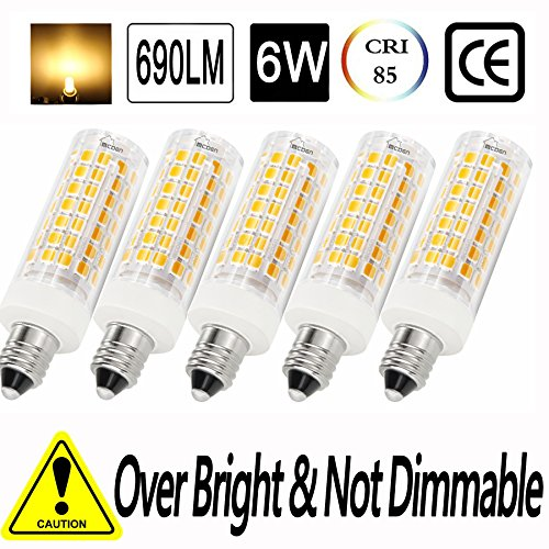4 Bulbs 130v (E11 led bulb 75W 100W halogen bulbs replacement, jd e11 mini candelabra base AC 100V-265V, Stable Current, No Flicker,Non-Dimmable. (50W Replacement-5Pack, Warm White 3000k))