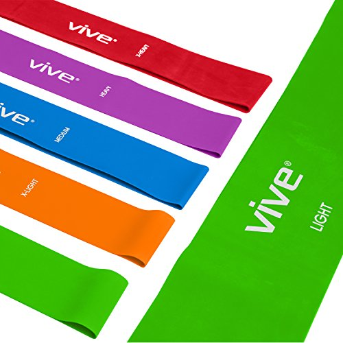 Resistance Loop Bands by Vive - Elastic Exercise Stretch Band for Arms, Legs, Physical Therapy, Weight Lifting & Training - Workout Chart and Bag Included
