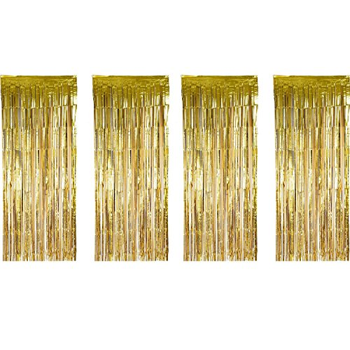 Sumind 4 Pack Foil Curtains Metallic Fringe Curtains Shimmer Curtain for Birthday Wedding Party Christmas Decorations (Gold)]()