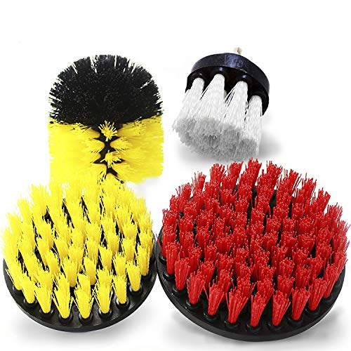 Drill Brush Set of 4 - Soft, Medium, and Stiff Power Scrubbing Brush Drill Attachment - for The Toughest Cleaning Jobs - Drill Powered Cleaning Attachments for Bathrooms, Kitchens, Cars and More