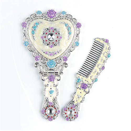 - Moiom Vintage Princess Mirror, Iridescent Rhinestones Crystal Metal Folding Handheld Cosmetic Mirror Portable Travel Dressing Table Makeup Mirror, Silver with White Painting