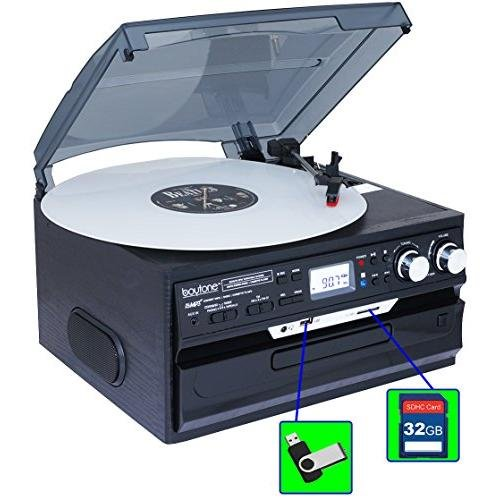 7-in-1 Boytone BT-21DJB-C 3 Speed Turntable 33/45/78 Rpm, Belt Drive, CD, Cassette Player AM/FM/ USB/SD Slot, Aux Input, 2 built in speaker. Encoding Vinyl & Radio & Cassette To-MP3.