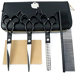 """Moontay 6.5"""" Professional Pet Grooming Scissors Set, 3-Pieces Dog Cat Grooming Straight & Curved & Chunker Shears/Scissors with 1 Grooming Comb, 440C Japanese Stainless Steel Grooming Scissor"""
