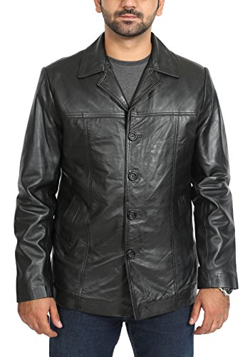 Hommes Réal Cuir Blazer Reefer Veste Manteau Unis Breasted Gents Harris Noir