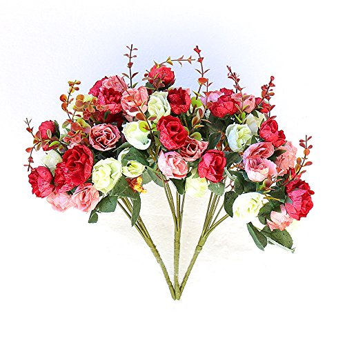 Wedding Pink Red Flowers (YILIYAJIA Artificial Rose Flowers Bouquets 21 Assorted Slik Flowers Bunch Plants for Wedding Home Decoration,Pack of 3 (Rose Red))