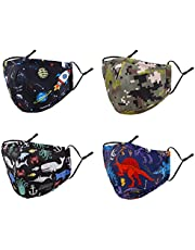 Kids Reusable Washable Breathable Face Mask with Adjustable Earloops for Boys Girls Children Gift
