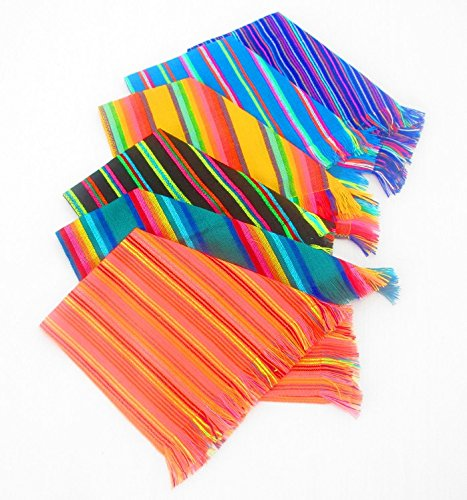 Mexican Napkins, Bulk Set of 6. Assorted Colors, Fiesta Decor, Woven Napkins, Boho Chic Linens, Cinco de mayo, Tribal Kitchen, Gift for Her.