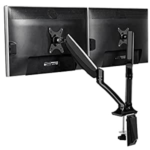 "Dual Monitor Stand Full Motion Swivel Tilt Rotate Gas Spring Desk Mount Stand Two Arm for 10"" to 27"" LCD LED Screen/VESA 75x75mm - 100x100mm"