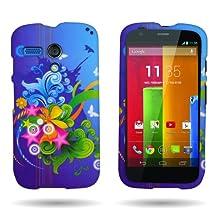 CoverON® for Motorola Moto G (1st Gen, 2014) Hard Design Case [Snap Fit Series] Slim Polycarbonate Back Phone Cover - (Blue Floral Burst)