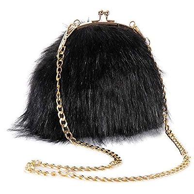 FHQHTH Faux Fur Purse Fashion Clutch Handbag Shoulder Vintage Evening Bags for Women