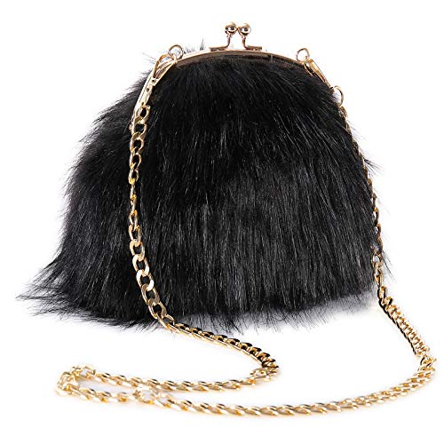 FAITH YN Faux Fur Purse Fashion Handbag Shoulder Vintage Evening Bags for Women [Black]