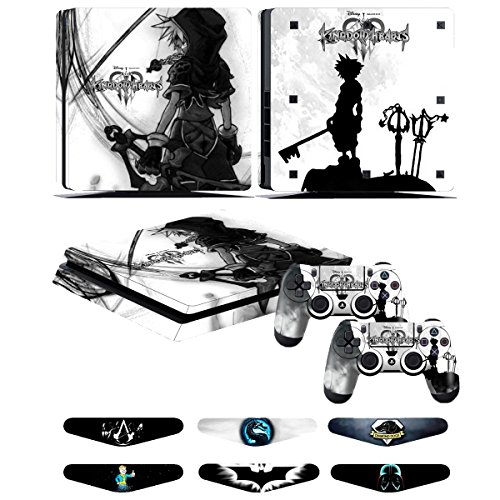 (PS4 Slim Skins - Decals for PS4 Controller Playstation 4 Slim - Stickers Cover for PS4 Slim Controller Sony Playstation Four Slim Accessories with Dualshock 4 Two Controllers Skin - Kingdom Hearts)