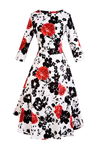Design Vogtage Dress Defined Waist Red with 1950's BestWendding Floral Retro Vintage Long Sleeve 1wPF0q4