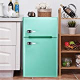 Bossin 3.2 CU. FT Compact Refrigerator 2 Door MIni Fridge Chiller and Freezer Compartment with Removable Glass Shelves Drink Food Storage Cooler for Office, Dorm, Apartment, Bedroom(Green)