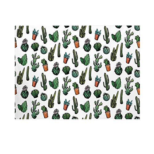 Cactus Decor Photography Background,Sketchy Spiked Mexican Garden Foliage Boho Hand Drawn Line Art Cacti in Pots Decorative Backdrop for Studio,10x6ft
