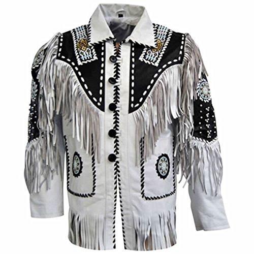 (LEATHERAY Men's Fashion Western Cowboy Fringed & Beaded Jacket Suede Leather White S)