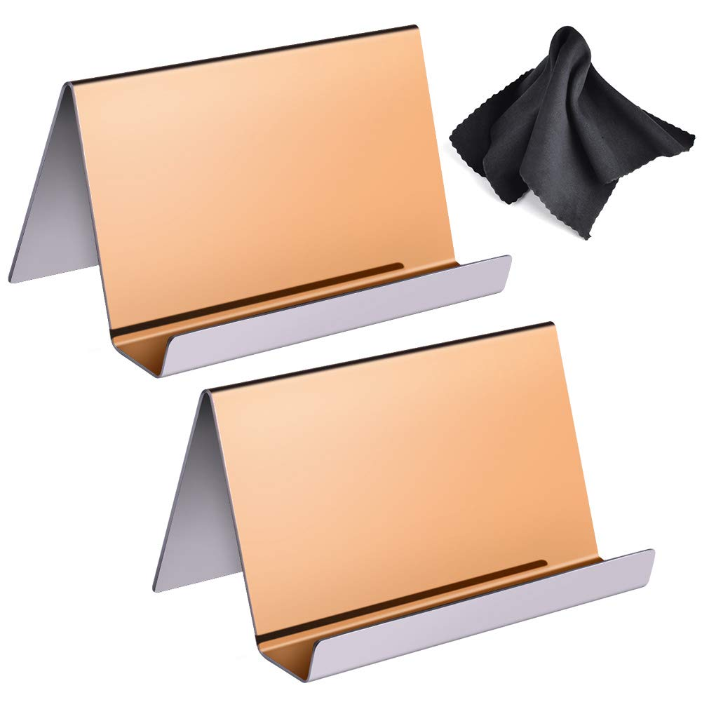 WXJ13 2 Pack Rose Gold Stainless Steel Desktop Display Business Card Holder with 1 Piece Black Cleaning Cloth
