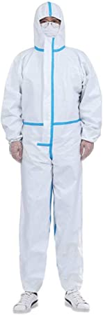 Full Body Cover Anti-Dust Protective Ventilation Protective Coverall Suit with Elastic Waist Disposable Coveralls Protective Suits,170