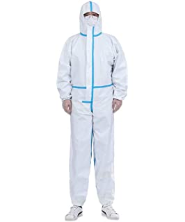 Shield Safety Disposable Polypropylene Coverall with Hood White 2XL Size 25 Pcs
