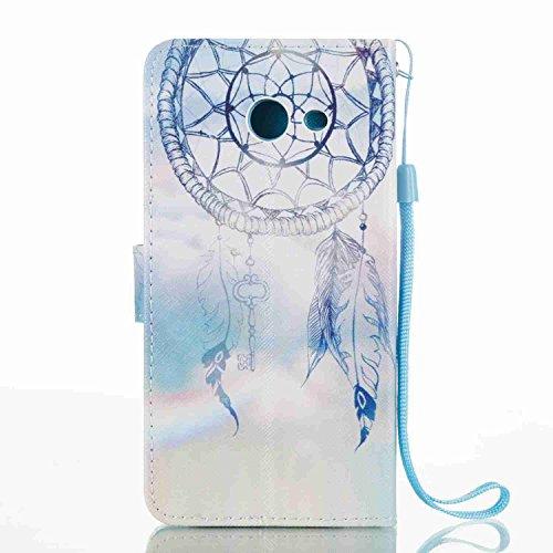 Funda Samsung Galaxy J5 2017 / J520, 5.2 pulgadas, Cáscara Samsung Galaxy J5 2017 / J520, Alfort Casco de Protección PU Cierre Magnético Carcasa del teléfono con una función de Soporte y la Cartera La Campánula de Blanco