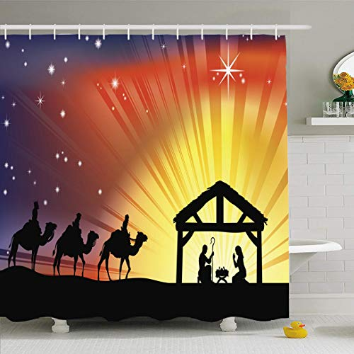 Ahawoso Shower Curtain for Bathroom 66x72 Traditional Christmas Scene Holidays Advent Born Manger Silhouette Baby Men Wise Day Night Story Star Waterproof Polyester Fabric Bath Decor Set with Hooks