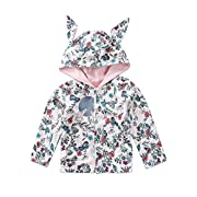 Lahyra Infant Baby Girl Floral Print Rabbit Ear Hoodie Coat Button Fall Winter Jacket Outwear (White, 0-3 Months)