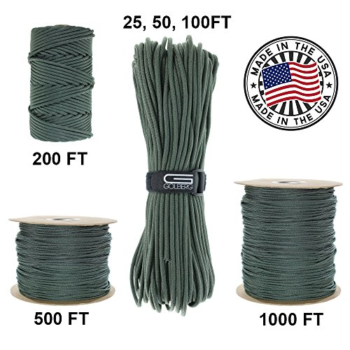 Golberg 750Lb Paracord   Parachute Cord   Us Military Grade   Authentic Mil Spec Type Iv 750 Lb Tensile Strength Strong Paracord   Mil C 5040 H   100  Nylon   Made In Usa