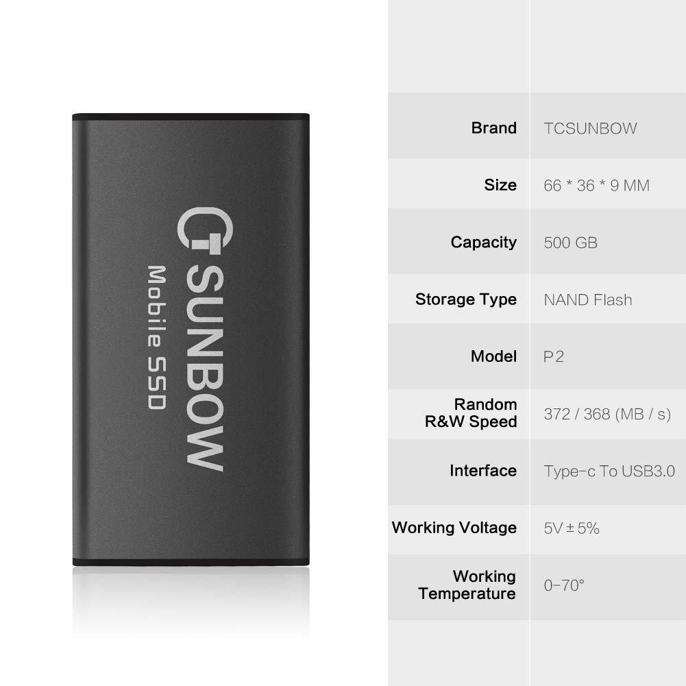 TCSUNBOW SSD portátil de 500 GB: Amazon.es: Electrónica