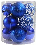 Festive Season 12pk 80mm 4-Style Christmas Ball Tree Ornaments, Blue