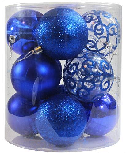 Festive Season 12pk 80mm 4-Style Christmas Ball Tree Ornaments, Blue