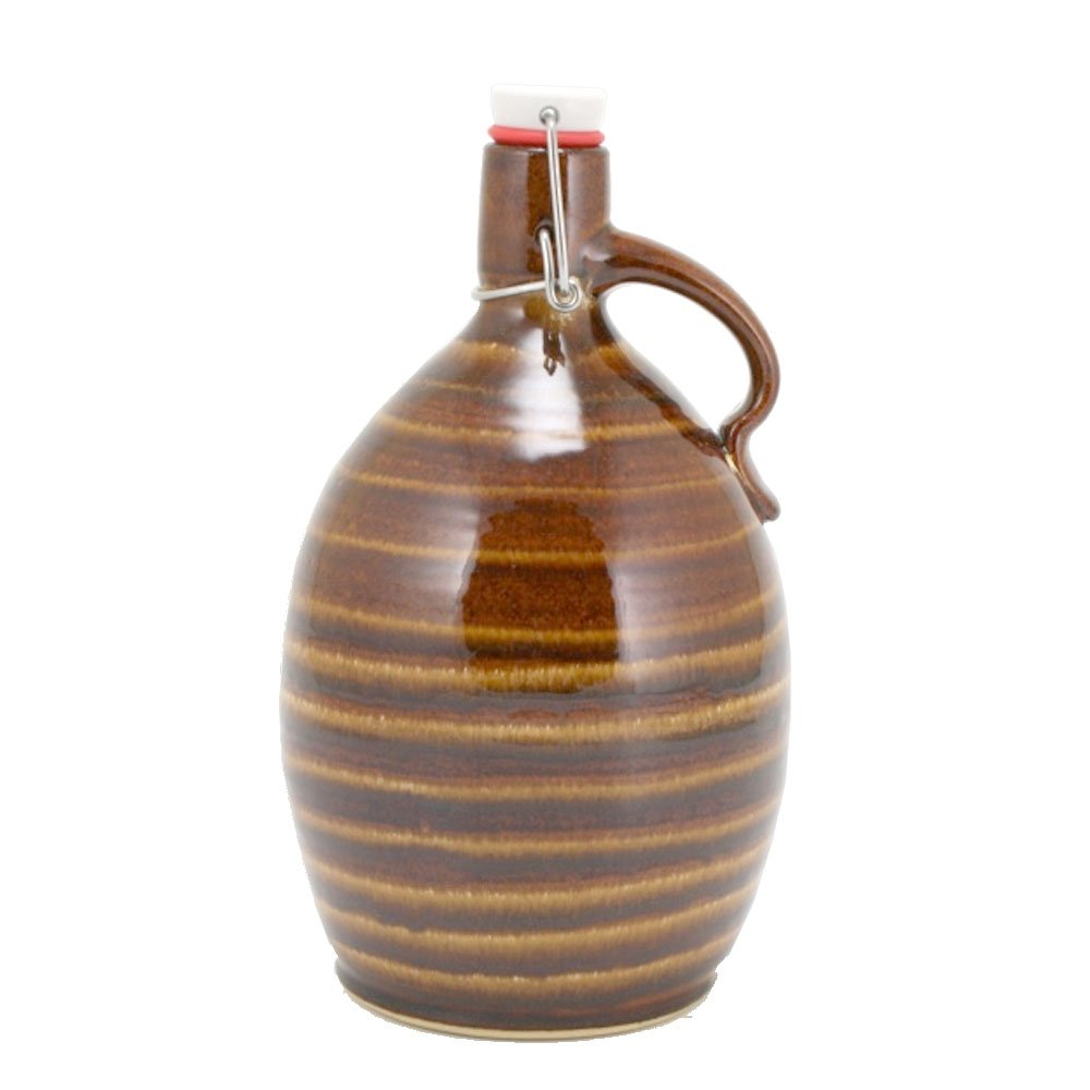 64oz Ceramic Beer Growler with Glaze trailing and Nut Brown Glaze