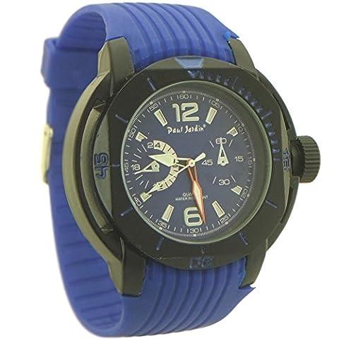 Paul Jardin Men's Rubber Quartz Chronograph-style Sport Watch blue and black - 3 (Paul Jardin Watch Quartz)