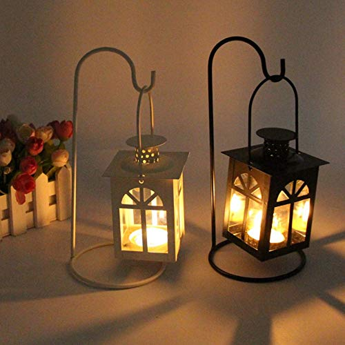 Maikouhai Hollow Holder Tealight Candlestick Hanging Lantern Vintage Church Wrought for Parties, Weddings, Anniversaries, Shop Windows - 10.5x10.5x24.2cm -